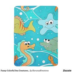 Funny Colorful Sea Creatures Baby Blanket