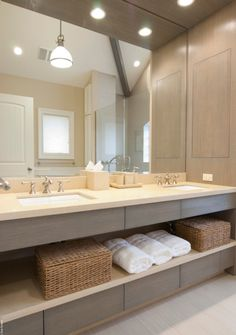 Open concept on this Master Bathroom Vanity. A great way to make the room feel spacious.