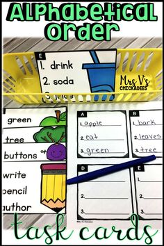 ABC Order Task Cards: hands on center and phonics activity. Students put words in alphabetical order. Perfect for literacy stations, centers, guided reading extensions, word work and more
