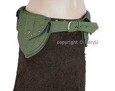 Steampunk leather utility belt bag with multi-pockets