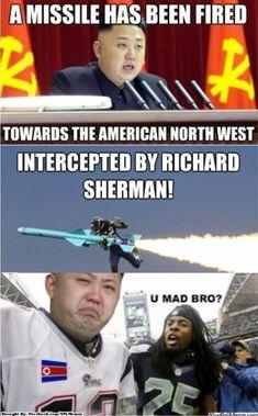 Richard Sherman intercepting Kim Jong Un! #RichardSherman #SeattleSeahawks #NflMemes Funny Basketball Memes, Funny Nfl, Funny Sports Memes, Sports Humor, Golf Humor, Soccer Humor, Girls Basketball, Nfl Jokes, Football Jokes