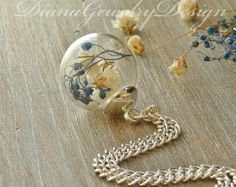 Real Flower Necklace Real Dried Flowers Real por SeaMeadowDesigns
