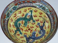 Chinese Porcelain Bowl Hand Painted with Dragons by designfinder, $30.00