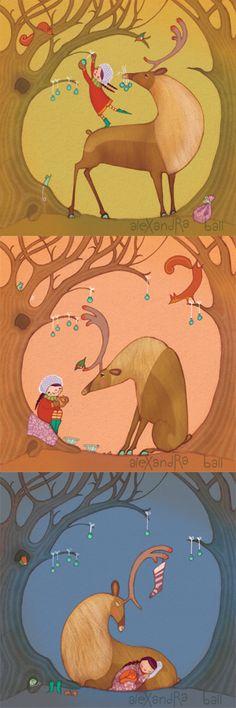 from one of my favorite illustrators... Alexandra Ball: Christmas Reindeer