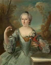 Portrait of a lady, with a parrot, in a landscape by Alexis-Simon Belle