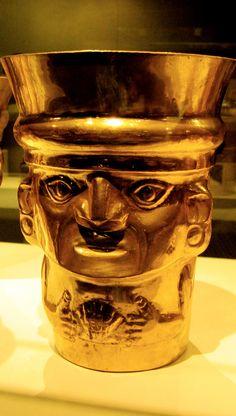 Sicán culture (9th-11th century) beaker figure gold cup. Metropolitan Museum of Art, New York.