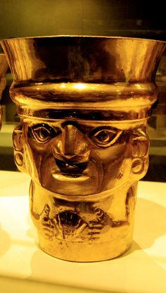 Sicán culture (9th-11th century) beaker figure gold cup. Metropolitan Museum of Art, New York.
