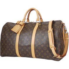Pre-Owned Louis Vuitton Monogram Keepall 50 Travel Cabin Bag ($1,299) ❤ liked on Polyvore featuring bags, luggage and brown