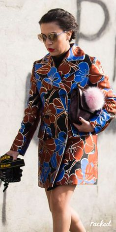 A Brown and Blue Floral Blazer at Milan Fashion Week // More Winter Style Ideas from the Best MFW Fall 2016 Street Style: (http://www.racked.com/2016/2/25/11112352/mfw-fall-2016-street-style)