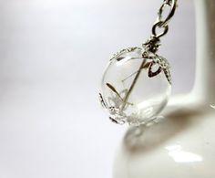 Dandelion necklace  Make A Wish Glass  by BeautyJewelryGifts, $29.99