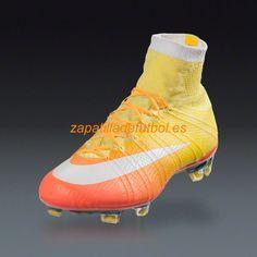 Caliente Botas De futbol Nike Mercurial Superfly FG Brillante Mango Naranja  Laser Opti Blanco Amarillo 764df60683186