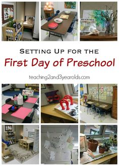Setting up the classroom for the first day of preschool - tips and activities for teachers to make back to school easier! From Teaching 2 and 3 Year Olds