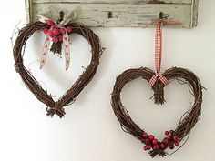 Heart wreath with berries, these wreaths are available at Michaels, just add some ribbon and berries.