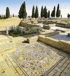 Ancient Roman Empire. Archaeological site of Italica, Santiponce, Seville, Spain. It was the   birthplace of two Emperors: Trajan and his adopted son Hadrian