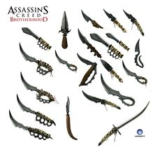 Assassins Creed Brotherhood Weapon Concept Art - Set in the 1500's, Assassins Creed Brotherhood does its best to be historically accurate with every detail, including weaponry. These weapons are from the game and the knives and swords look like they'd come from the 1500's