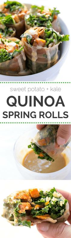 Sweet Potato + Kale Quinoa Spring Rolls -- a seasonal spin on a delicious gluten-free meal (they make great leftovers too!) -- VEGAN + GF