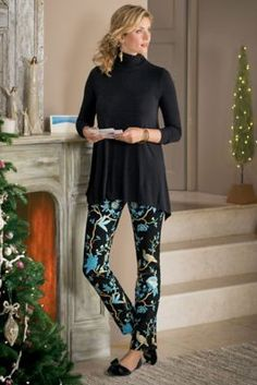 Chinoiserie Pants - Asian-inspired Pants   SOFT SURROUNDINGS  Our Asian-inspired, foil-printed ponte knit pants are showstoppers. Straight-leg ankle-length, with incredible stretch and the pull-on ease of an elastic waist. RAYON / NYLON <-❣️❣️❣️
