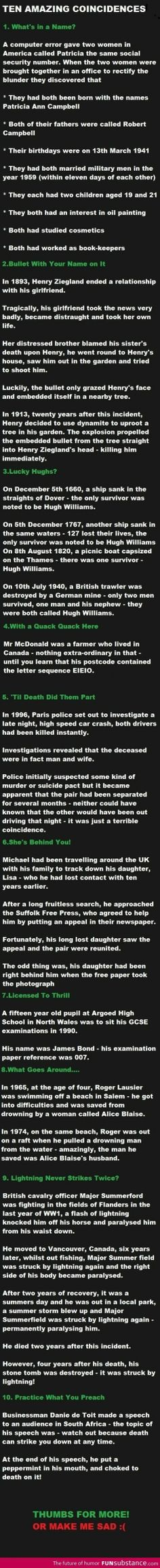 TEN AMAZING COINCIDENCES | Creepy...