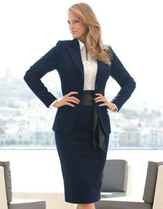 This skirt suit is also another professional outfit. In this outfit there is a nice plain white shirt underneath of the blazer. The blazer and the skirt match and look professional for the workplace. Business Professional Outfits, Business Outfits, Business Attire, Professional Wardrobe, Office Attire, Office Outfits, Work Attire, Stylish Outfits, Look Office
