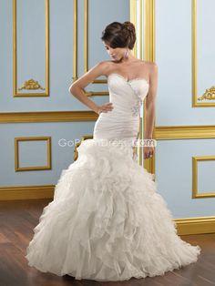 Modern Mermaid Organza Sweetheart Cascading Ruffles Wedding Dress