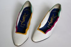 vintage white YSL Yves Saint Laurent pumps by sweetnsourvintage, $40.00