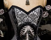 Striped Victorian Circus with Skeleton Cameo Corset by Louise Black.