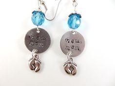 Hand stamped blue new mom earrings by jewelryandmorebykat on Etsy
