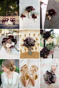 My Wedding color palette: Pair burgundy or wine w/ gold, classic cream or nude, gray & romantic blush pink