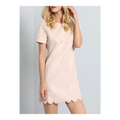 SheIn(sheinside) Apricot Short Sleeve Ruffle Dress (370 MXN) ❤ liked on Polyvore featuring dresses, apricot, pink frilly dress, ruffle dress, pink short sleeve dress, short-sleeve dresses and short pink dress
