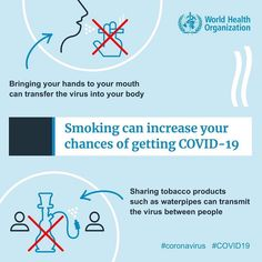 """""""Using tobacco products can increase your chance of getting your hands to your mouth can transfer the virus into your body. Sharing tobacco products can transmit the virus between. World Organizations, Smoke Damage, Innovation News, Health Resources, Health Advice, World Health Organization, Respiratory System, Mo S, Elk"""
