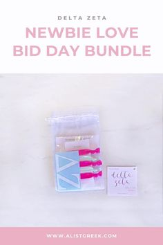 Spoil your new members this recruitment with the Newbie Love bundle! Gift bag includes a sorority decal, hair tie set, and button set. Delta Zeta Gifts | Delta Zeta Bid Day | DZ New Member Gifts | DeeZee Rush Gift Bags | Delta Zeta Recruitment | Sorority Bid Day | Sorority Recruitment | Bid Day Bags | Sorority New Member Gift Ideas #BidDayGifts #SororityRecruitment