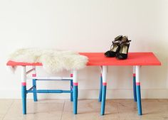 Claire at Camille Styles transformed two wooden chairs into a bold and quirky bench by salvaging only the legs and topping them with a plank of plywood.