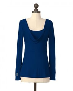 THE UNIVERSITY OF MICHIGAN EMPIRE WAIST COWL NECK TOP IN NAVY