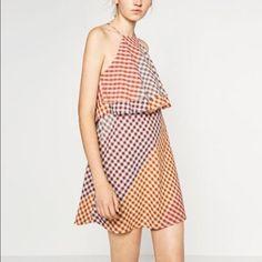 Zara Frayed Check Dress
