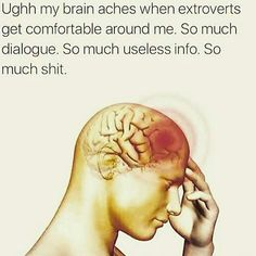 My brain aches when extroverts get comfortable around me. So much useless info. So much shit