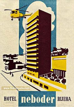 Hotel Neboder, Rijeka Croatia - Vintage Luggage Label from 1950s