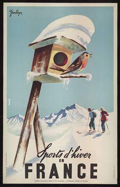 Sports d'hiver en France Jean LEGER Edité par E. DESFOSSES  Circa 1950, Paris Lithographie  N° inv. 87-01-028 Collections Département de la Haute-Savoie