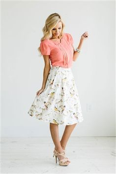 Pink Yellow Skirt Modest Skirt, Spring Dresses, Church Dresses, dresses for…