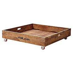 Under Bed Rolling Storage Crate.. this is mango wood and costs $198.. but.. why not make our own from a pallet for free! :)