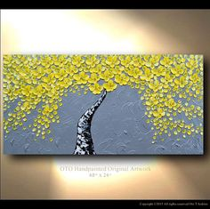 Made to Order Original Tree Painting Yellow Flower Abstract Paintings Canvas Art Oil Painting Wall Decor Artwork Modern Art by OTO