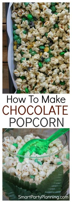 Learn how to make a chocolate popcorn recipe that will be a party favorite. This is one of those recipes that the adults will be fighting the kids over. It's simple and easy to make, tastes amazing and is the perfect finger food at kid's parties or a fami Healthy Movie Snacks, Healthy Bedtime Snacks, Healthy Protein Snacks, Healthy Cookies, Yummy Snacks, Yummy Food, Party Food For Adults, Easy Party Food, Chocolate Popcorn
