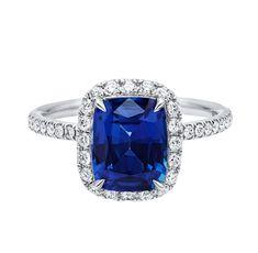 Harry Winston Cushion-cut Sapphire Micropavé Ring