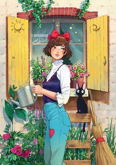 Kiki in the garden by Toshia-san on DeviantArt