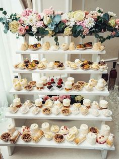 How gorgeous is this for an afternoon tea mastermind get together? Desert cake set ups can be fun! Someone hire me to do this display at their party or wedding bc I'm obsessed! 53 super Ideas for wedding reception food appetizers How about a shelf full Wedding Desserts, Wedding Favors, Wedding Cakes, Wedding Decorations, Wedding Day, Wedding Ceremony, Wedding Dessert Tables, Mini Desserts, Wedding Appetizers