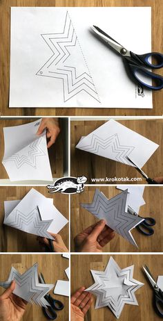 Papiersterne - New Ideas Paper Flowers Craft, Origami Flowers, Origami Paper, Flower Crafts, Origami Boxes, Christmas Paper, Christmas Crafts For Kids, Holiday Crafts, Christmas Centerpieces