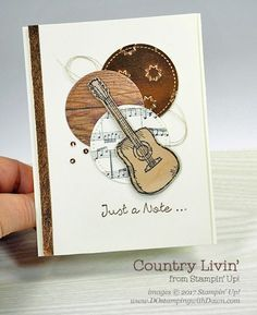 Stampin' Up! Country Livin' & Sheet Music stamp sets card shared by Dawn Olchefske for DOstamperSTARS Thursday Challenge It's time for another DOstamperSTARS Thursday Challenge. This week we're having a Masculine Birthday Cards, Birthday Cards For Men, Masculine Cards, Guy Birthday, Boy Cards, Kids Cards, Musical Cards, Music Crafts, Greeting Cards Handmade