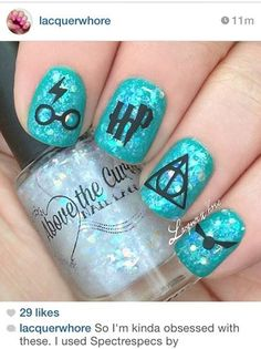 Spectrespec by AboveTheCurve on Etsy ... ☆ Spectrespecs ☆ is packed full of rainbow flakies, iridescent hex and micro flakies in a clear base. Shown here with Harry Potter inspired nail art