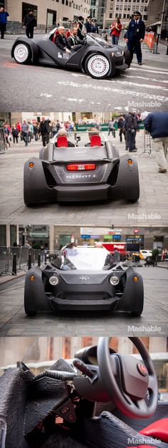 This car, known as the Strati, is a fully drivable, almost completely 3D printer-manufactured automobile.