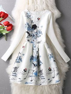 white dress with nature design