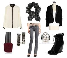 Grey pants, black jacket, white collar shirt, silver earrings, silver ring, black shoes, grey scarf, burgundy nail polish